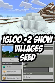 MCPE Igloo + 2 Villages at Spawn Seed. Seed:gxbrr