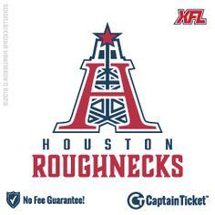 Buy Houston Roughnecks Tickets Without Fees At Captain Ticket™ - The Original No Fee Ticket Site! Xfl Football, Football Ticket, Football Helmets, Houston Tattoos, Texas Tattoos, Sports Logos, Sports Teams, Xfl Teams, Vivid Seats