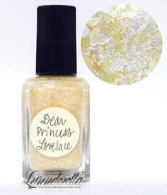 Lynnderella Limited Edition—Dear Princess Lovelace began her life as a warm white version of Love, Lace and Lilacs. But she evolved into a more complex blend of ivory and white glitters in a subtly translucent ivory base with warm-white and gold shimmer.