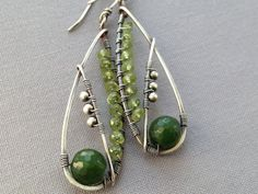 Canadian Jade and Peridot Wire Wrapped