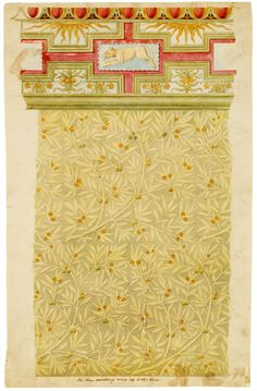 Sample wallpaper - Design for the wall decoration & cornice in the Green Room, V Museum no. E.5096-1960    Sample wallpaper - Design for the wall decoration & cornice in the Green Room, V  Phillip Webb (1831 - 1915)  English  About 1866  Watercolour, bodycolour, gold on paper  Museum no. E.5096-1960