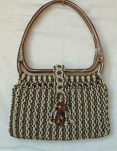Faux Tortoise Shell Handle Crochet Macrame Purse Vintage Accessory