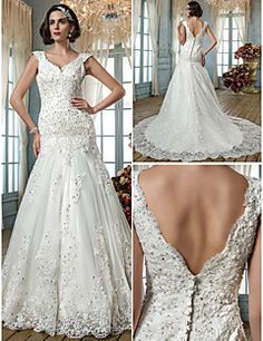 A-line Princess Queen Anne Tulle Wedding Dress. Get special discounts up to 70% Off at Light in the box using Coupons.