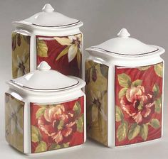 222 FIFTH (PTS) Belize red/white floral, yellow background 3-piece canister set