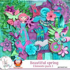 Beautiful spring Elements 1 by Kastagnette [kasta_BeautifulSpring] - Packs Papier, Spring, Kit, Beautiful, Design