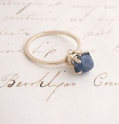 Raw Sapphire Ring. Stunning simplicity. https://www.etsy.com/shop/SacredbyBrandy