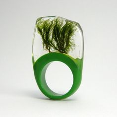 Moss and green resin Ring. $40.00, via Etsy.