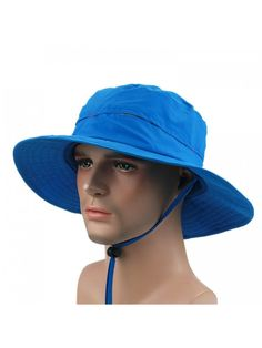 Outdoor Sun Hat Summer Wide Brim Bucket Hat boonie Fishing Hunting Hiking  Hat - Blue - C812F6LMP1B 684a2402e8ae