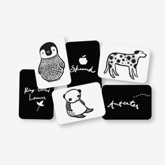 Black and white high-contrast images to stimulate visual development in infants and entertain your toddlers and preschoolers! Set of 6 big sturdy cards, printed