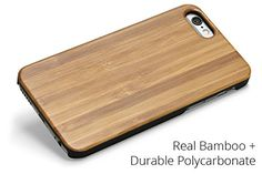 Woodland Mobile Phone Case for iPhone 5/5S (Bamboo). Protects the phone from all angles, sides, and corners. Real wood or bamboo affixed to a black polycarbonate clipper case - get the real wood look without worrying about splitting. Full access to all ports, buttons, and controls. Super thin profile. Optional customization with laser etching or full color printing.