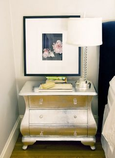 metallic spray to upcycle a nightstand in lieu of $$$$ mirrored from Z Gallerie... ;)