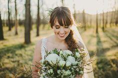 BELLA + MICHAEL // #flowers #white #green #simple #elegant #country