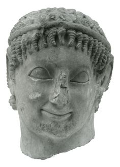 Marble male head, probably from a statue of a riding youth, found at Eleusis, Attica. ca. 560 BC.  © NATIONAL ARCHAEOLOGICAL MUSEUM OF ATHENS