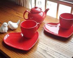 Conjunto de chá vermelho