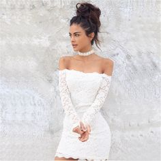 Slash Neck Fashion Lace 2017 vestidos Dress Ladies Sheath Mini Sexy Slim Dresses for Women Summer Clothing White Party  D134