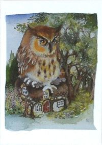 """Owl greetings card - """"witches owl"""" - The English Owl Company"""