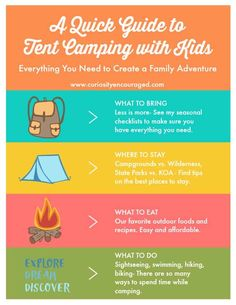Going camping? A quick guide to tent camping with kids offers everything you need to know to plan, pack, and take your family on a camping adventure. Camping With Kids, Family Camping, Tent Camping, Camping Hacks, Camping Ideas, Family Travel, Camping Guide, Camping Checklist, Outdoor Camping