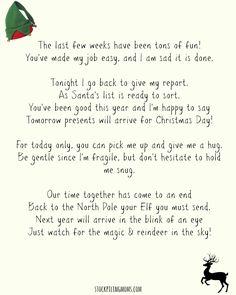 Elf On A Shelf Goodbye Letter Printable
