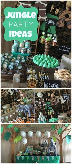 You have to see this jungle party with lots of fantastic decorations! See more party ideas at CatchMyParty.com!