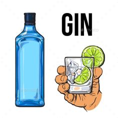 Blue Gin Bottle and Hand Holding Glass with Ice