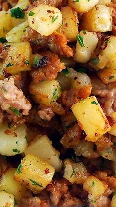 Sausage and Potato Breakfast Hash ~ Buttery, rich and delicious, this easy breakfast side dish hits all the perfect marks for a tasty start to the day. Make this recipe with Johnsonville Ground Italian Sausage!