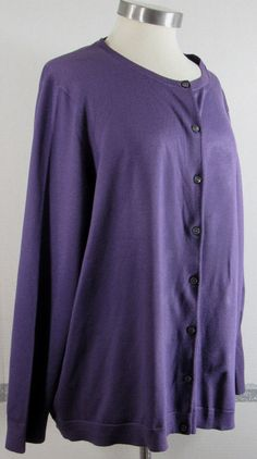 Lands End Cardigan Sweater 1X Purple Button Front Long Sleeve Classic Piece GRUC #LandsEnd #Cardigan #Work