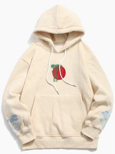 1961b6b8cf63 Clouds Embroidery Casual Pullover Hoodie