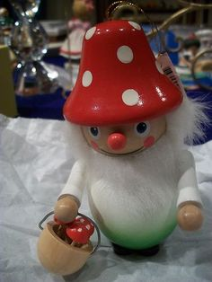GNOME MUSHROOM WOOD ORNAMENT MARTHA STEWART COLL NEW WITH TAG HANGS OR STANDS | eBay