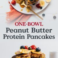 Gluten-free protein pancakes requiring only 20 minutes and 1 bowl. Peanut Butter Cups, High Protein Peanut Butter, Peanut Butter Waffles, Coconut Pancakes, Oat Pancakes, Chocolate Chip Pancakes, Peanut Butter Recipes, Protein Pancakes, Pancake Calories