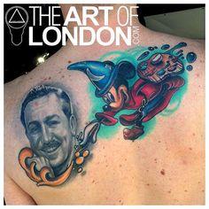 Walt Disney Mickey Mouse Cover Up by London Reese: TattooNOW Walt Disney Mickey Mouse, Custom Tattoo, Disney Tattoos, Watercolor Tattoo, Cover Up, London, Artist, Artwork, Oc
