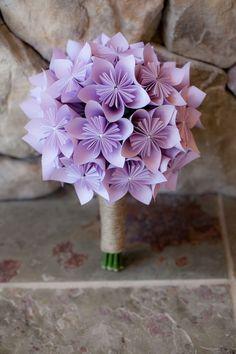 Quirky purple paper bridal bouquet    Photographer: Sechler Studios