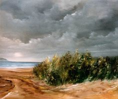 "Lalo Relinque: (1992) - ""Tormenta en la playa"" - Óleo.Lienzo - 54x65 cm"