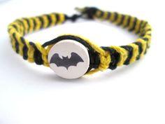 Batman Bracelet Bat Beaded Hemp Bracelet Black and by JackZenHemp, $9.95 #batman #hemp #bracelet