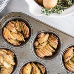 Muffin Tin Crispy Roast Potatoes - My Kitchen Love Roasted Potato Recipes, Easy Potato Recipes, Fish Recipes, Whole Food Recipes, Savoury Recipes, Vegetable Recipes, Recipies, Crispy Roast Potatoes, Roasted Fingerling Potatoes