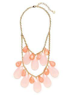 R.J. Graziano Pink Multi Teardrop Bib Necklace