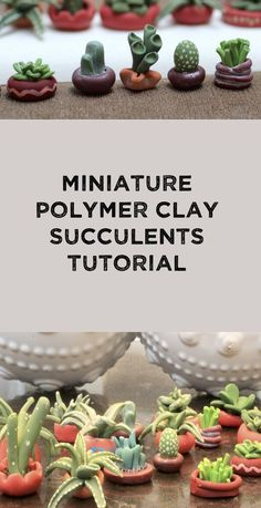 Create miniature cactus from polymer clay for your fairy garden, doll house or miniature collection. Or you can make them simply because they are adorable. These tiny succulents can easily be recreated with a little patience and lot of fun. #mini #fairy #garden #polymerclay