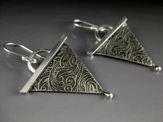 Sterling Silver Triangle Patterned Earrings, by formandfunktion