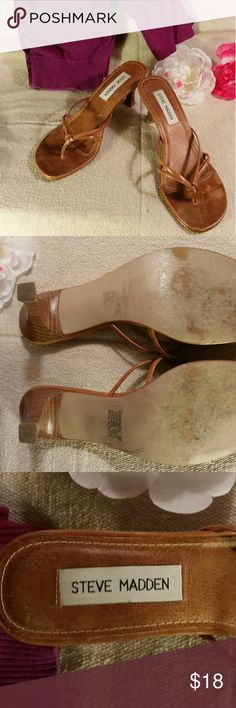 Steve Madden tan heels Size 6 heels with leather upper and sock and synthetic sole. Some wear in the toe area shown in last picture. Great condition! Steve Madden Shoes Heels