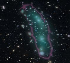 The galaxy cluster MACS 0416 from the Hubble Frontier Fields, with the mass shown in cyan and the magnification from lensing shown in magenta. Image credit: STScI/NASA/CATS Team/R. Livermore (UT Austin),