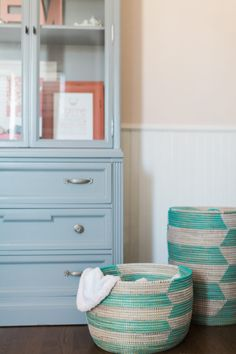 These baskets are perfect for storing blankets or even laundry in the nursery or kids rooms!