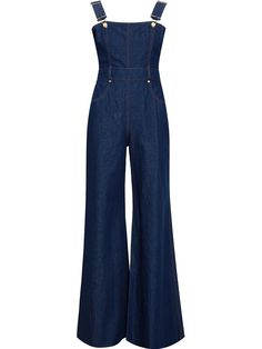 Love the girly shape of these - fitted bodice, flare leg, dark wash. DIY all manner of denim with Threadhead TV. ~Natasha Zinko Denim Overalls, $1,153; farfetch.com    - ELLE.com