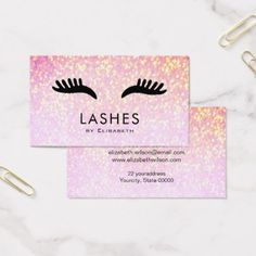 cartoon lashes on faux sparkle makeup artist business card - glitter gifts personalize gift ideas unique