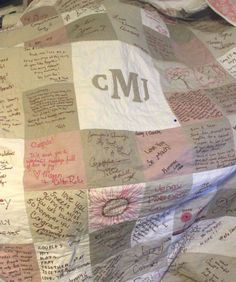 Monogram Wedding Quilt Signature Guest Book Love this idea. With CFJ as the Monogram and in wedding colors. Fall Wedding, Diy Wedding, Dream Wedding, Wedding Rustic, Trendy Wedding, Wedding Dress, Wedding Guest Quilt, Wedding Quilts, Mr Mrs