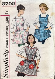 Simplicity 3702 Vintage Sewing Pattern CLASSIC Retro Housewife Cobbler Apron Set, Bib Front, Back Straps, Flower Pockets Retro Apron Patterns, Vintage Apron Pattern, Aprons Vintage, Simplicity Sewing Patterns, Vintage Sewing Patterns, Retro Pattern, Pattern Sewing, Clothes Patterns, Cobbler Aprons