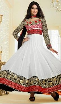 Plushy Off White Anarkali Salwar Kameez