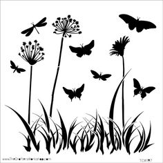 Butterfly Meadow Stencil 6 x 6 by TheCookieCountess on Etsy, $5.00