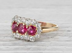 Edwardian Three Stone Ruby Cluster Ring