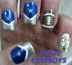 Dallas COWBOYS Nail Art! Used: Salon Perfect in Blue Ribbon, Spoiled in Daddys Credit Card, CoverGirl Outlast in Snow Storm, SinfulColors in Nirvana and Milani Silver Glitter.