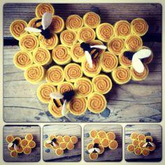 Felt Honeycomb Bee Hive Magnet Refrigerator Puzzle Set of 4