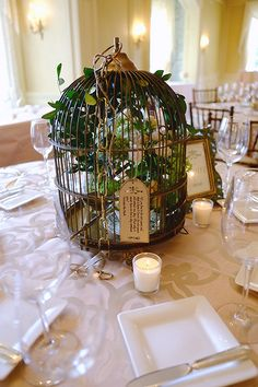Vintage birdcage wedding centrepiece - by Bits and Blooms Inc.